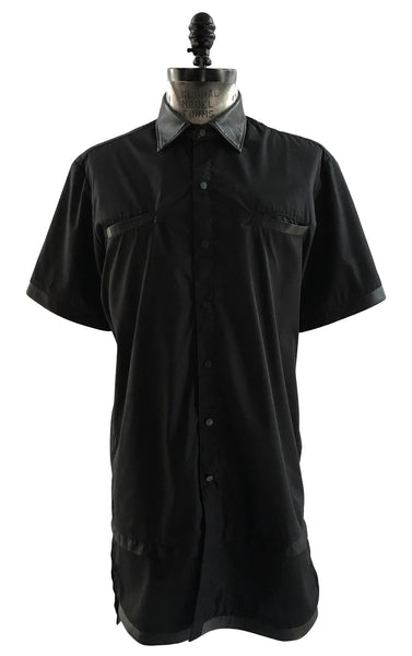 BV SH01 Long Shirt Short Sleeves Lambskin Leather Trims - Some Things Dark