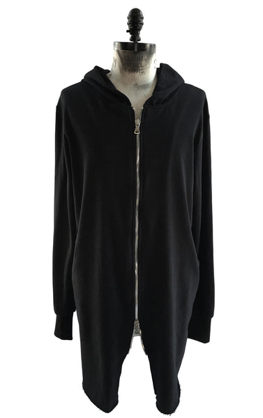 BV HO70Long Heavy Cotton Hoodie Double Zipper Front - Some Things Dark