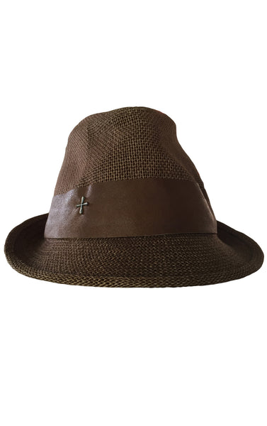 DR HA16 Straw Hat, Leather Detailing w Sterling Silver Cross - Some Things Dark
