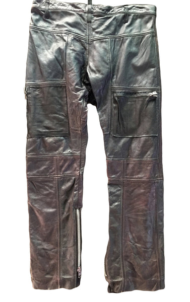 DR PA05 Leather Patchwork Pants, Oil Washed, silk lined - Some Things Dark