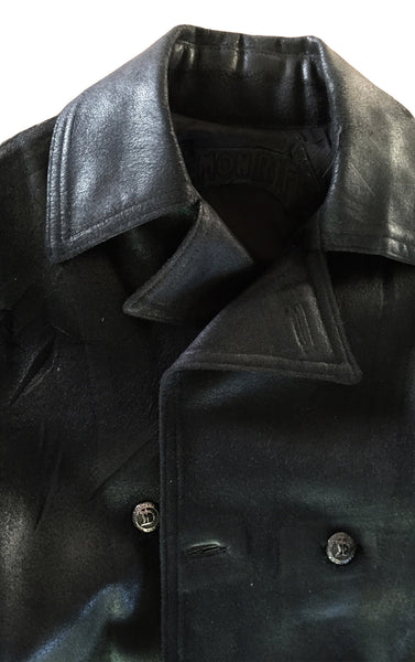 DR JK12 Waxed D/B Jacket w Leather Sleeves - Some Things Dark