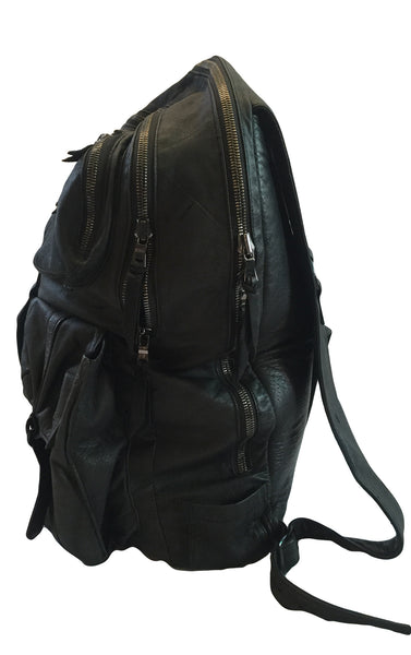 DR BA25 Leather Backpack, padded, multi pocket - Some Things Dark