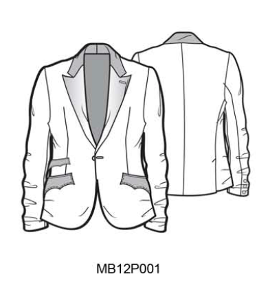 MB12P001 DR Wool Blazer Python trims - Some Things Dark