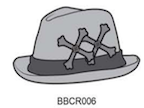 ZBBCR006 DR Tri-Cross Fedora Hat leather cross+trim - Some Things Dark