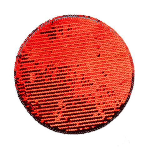 Stor sequin patch for sublimering - Rød Runding