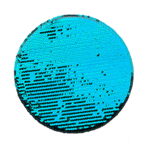 Stor sequin patch for sublimering - Blå Runding