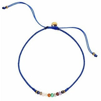 Stine A Lucky Bracelet - Electric Blue Ribben w. Gemstones