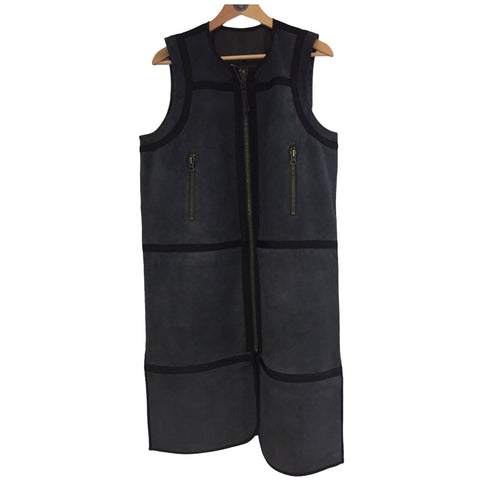 BY GRØNNBÆK - Vest Long Leather Black