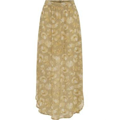 Rabens Saloner - Kirstine Flower Long Skirt Yellow