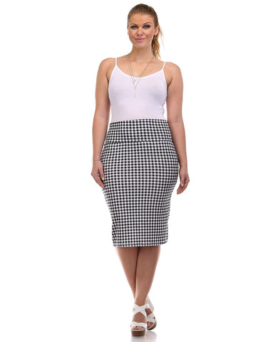 Gingham Pencil Skirt - Plus
