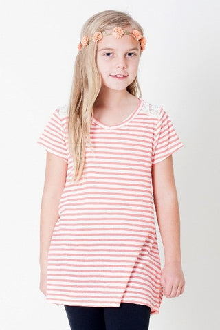 Stripes & Lace Tee- Girls
