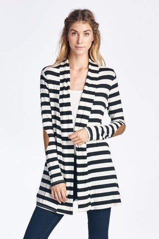 Striped Elbow Patch Cardigan - Plus