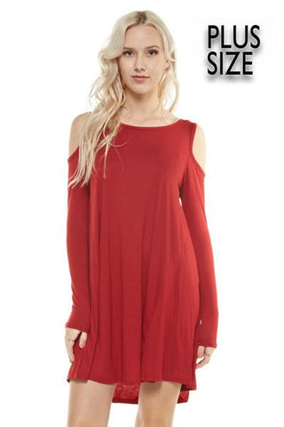 Cold Shoulder Dress - PLUS