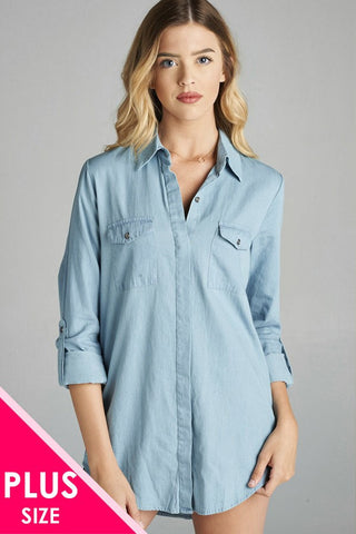 Chambray Jean Shirt - PLUS
