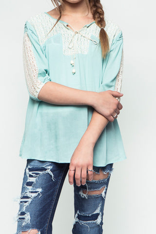 Floral Lace Tunic - Girls