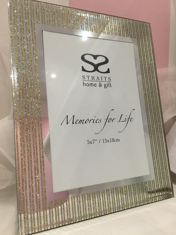 "Gold Glitter Stripe Mirror Picture Frame 5""x7"""