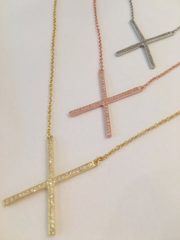Diamonte Cross Sterling Silver Necklace