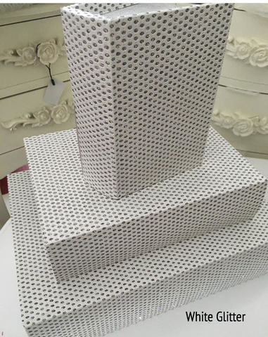 Set of 3 White Glitter Book Storage Boxes