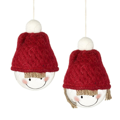 Hanging glass boy & girl in Woollen Red Hats