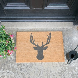 Grey deer door mat