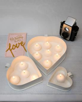 Heart Shaped Metal Tea Light Holders - Set of 3