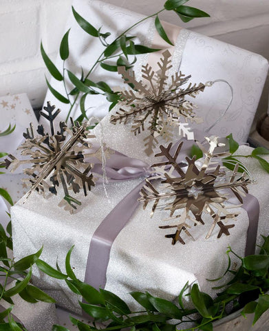 Set of 4 3D Nickel Snowflake Tree Decorations