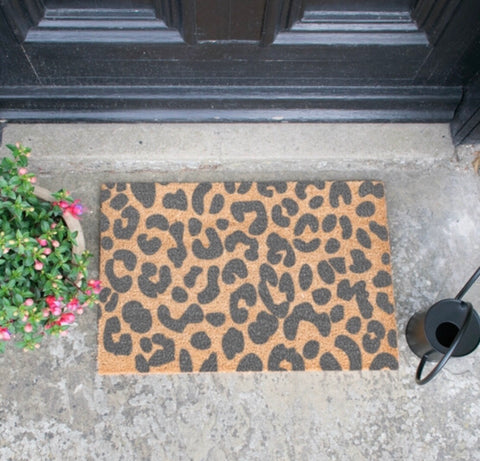 Grey Leopard Print Door Mat