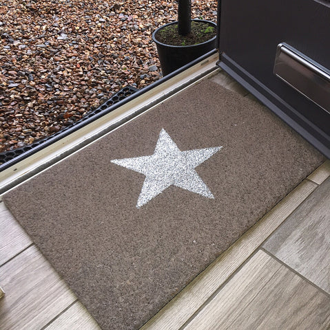 Silver and Grey Glitter Star Doormat