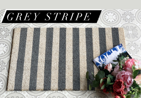 Grey stripe door mat