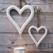 Set of 2 Large Wooden White Washed Hearts