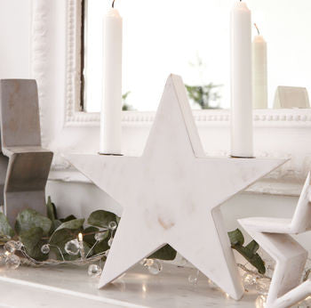 White Washed Wooden Star Candlestick