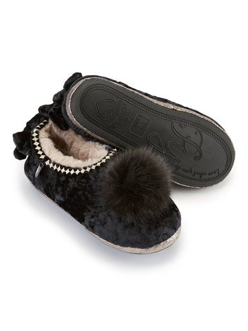 LUXURY LADIES BLACK VERITY BALLERINA SLIPPER PRETTY YOU LONDON