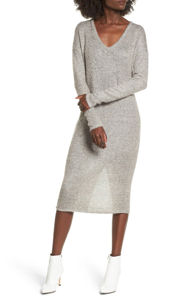 Women's Socialite Fuzzy Sweater Midi Dress, Size X-Large - Grey