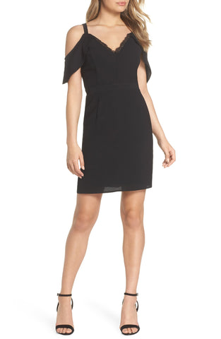 Women 19 Cooper Cold Shoulder Lace Trim Sheath Dress, Size Large - Black