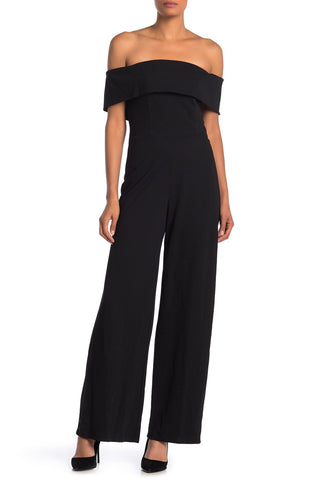 Marina Off-the-Shoulder Bell Bottom Jumpsuit - Size 10, Black