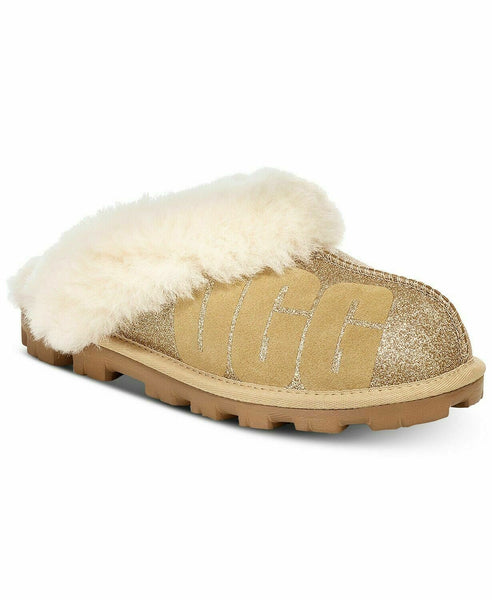 Ugg Australia Womens Coquette Fur Closed Toe Slip On Slippers, Gold, 10