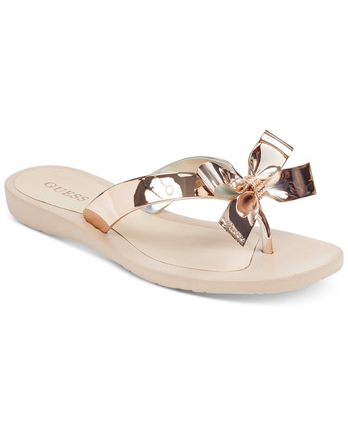 Women GUESS Tutu Bow Thong Sandals, Gold Texture, 7M
