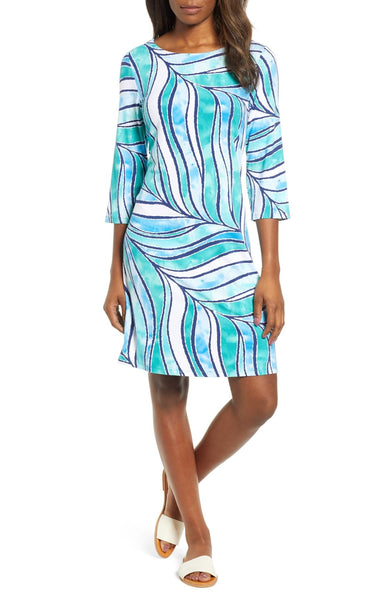 Tommy Bahama Women's Batiki Tiki 3/4 Sleeve Dress - Size Medium, Blue