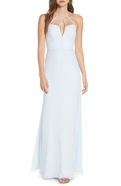 Women Hayley Paige Occasions Strappy Detail Chiffon Evening Dress, Size 2 - Blue