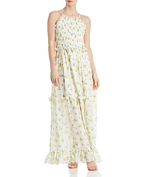 Betsey Johnson Women Ruffled Floral-Print Maxi Dress, 10, Yellow/White