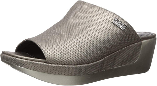 Women Kenneth Cole Reaction Pepea Slide Wedge Sandals, Pewter, 9.5M