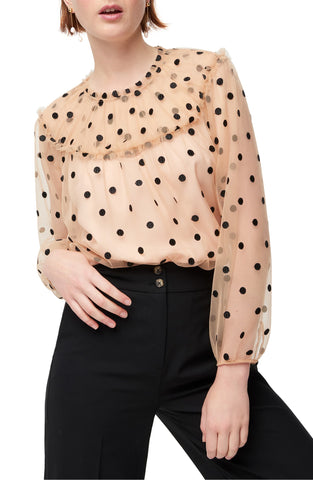Women's J.crew Diana Candy Dot Tulle Top, Size Small - Black