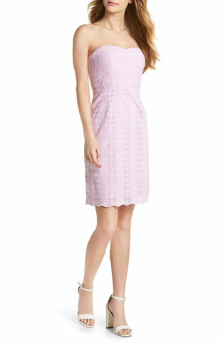 Women's J.crew Strapless Eyelet Sheath Dress, Size 6 - Purple