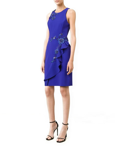 Marchesa Notte Embellished Ruffle Sheath Cocktail Dress