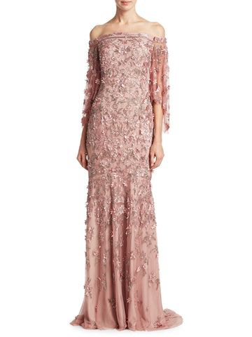 Theia Embellished Off Shoulder Evening Gown Dress