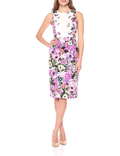 Maggy London Women's Sleeveless Cotton Sheath Dress - Size 14, White/Pink