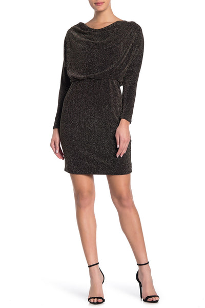 Women Eliza J Knit Cowl Neck Sheath Dress, Metallic, Size 2