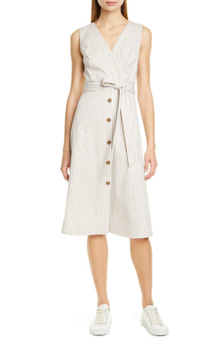10c1 Size 18 Women's Nordstrom Signature Stripe Button Dress -in White