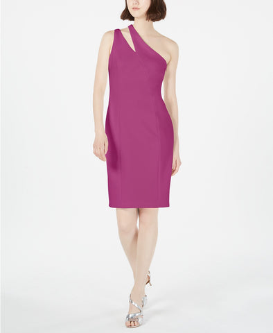 Calvin Klein Womens One Shoulder Sheath Cocktail Dress, 14W, Purple