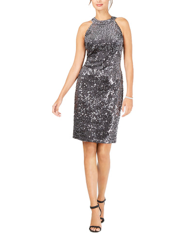 Nightway Velvet Sequined Sheath Dress